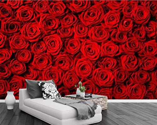 JDHFKS Wandgemälde, Individuell Gestalteter Silk Wallposter Fototapete Wand-Aufkleber Romantische Rote Rosen-Blumen-Blumenkunst-Wand-Dekoration For Haus Wohnzimmer Schlafzimmer TV Sofa Hintergrund