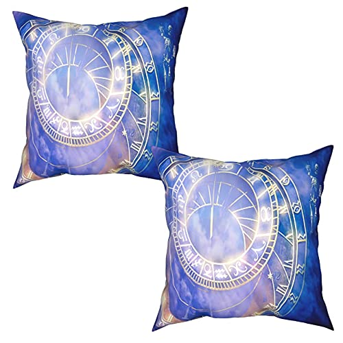 Pack of 2 Cushion Covers Pillowcases,Prague Astronomical Clock On The Old Town Hall,Square Throw Pillow Cases Plain Cushion Home Decor Decorations For Sofa Couch Bed Chair (50x50cm)x2