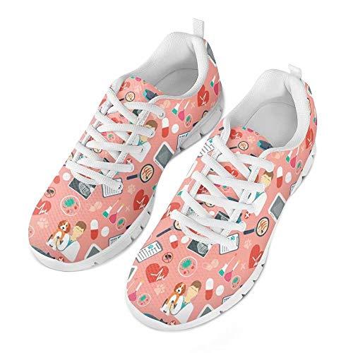 chaqlin Nurse Heart Beat Pattern Donna Sneakers Allacciate Infermiera Carina Scarpe Sportive Leggera Primavera/Autunno Scarpe Basse Scarpe Traspiranti Donna Rosa Taglia EU41