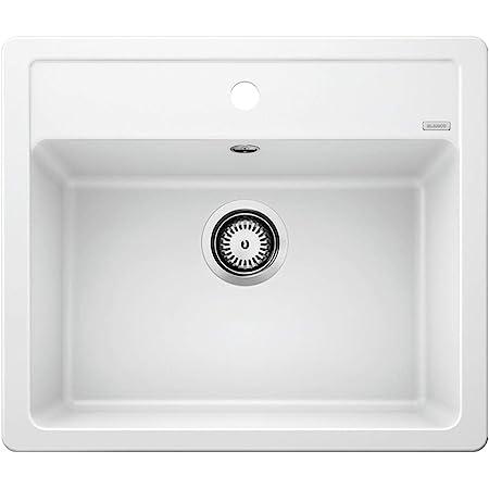 BLANCO LEGRA 6 – Évier Rectangulaire en Granit pour Meubles Bas de 60 cm de Large – En SILGRANIT – Sans Égouttoir – Blanc – 523334