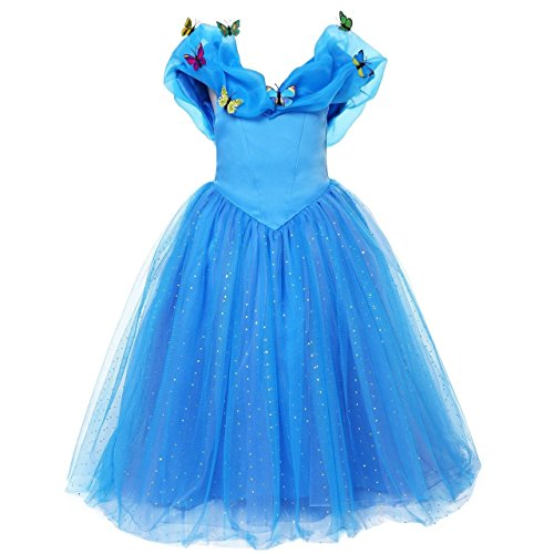 ELSA & ANNA® Princesa Disfraz Traje Parte Las Niñas Vestido (Girls Princess Fancy Dress) ES-FBA-CNDR4 5-6 Años(talla productor 30)