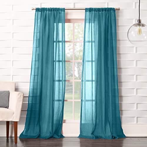 "No. 918 Tayla Crushed Texture Semi-Sheer Rod Pocket Curtain Panel, 50"" x 84"", Marine Teal"