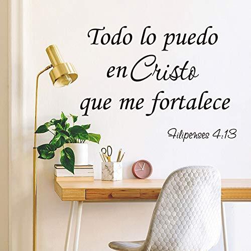 XCSJX Todo lo Puedo con el Cristo Que me fortalece. Adhesivos de Pared Dormitorio Infantil Calcomanías de versículos bíblicos 94x70cm