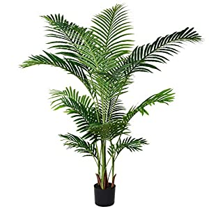Silk Flower Arrangements Lvydec 5.2ft Artificial Areca Palm Tree Decoration, Faux Palm Tree with 17 Palm Leaves Faux Tropical Plant in Pot for Indoor/Outdoor Home Decoration
