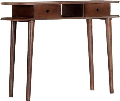 cangzhoushopping Table Console MDF Blanc et Marron gris/âtre Meubles Tables Consoles Bouts de canap/é