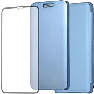 ZOOMALL-AE Case for Galaxy A2 CORE, New Generation Mirror Cover Built-in Liquid Silicone Shell with a Free Tempered Glass Screen Protector for Samsung Galaxy A2 CORE, Light Blue