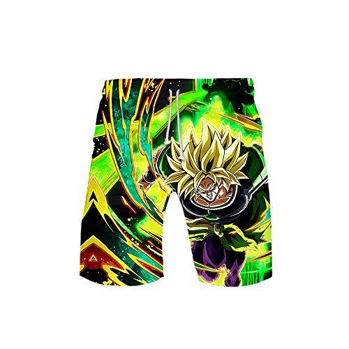 MLX-BUMU Traje De Baño para Hombres Pantalones Casuales Cinturón De Bolsillo Gráficos Impresos En 3D Pantalones Cortos De Playa Bañador De Verano Anime Dragon Ball,XXXL