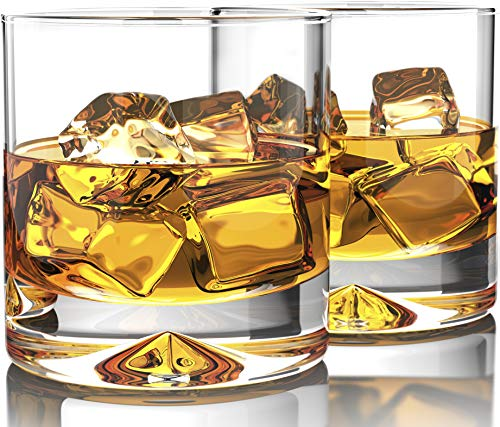 MOFADO Crystal Whiskey Glasses - Classic - 12oz Set of 2 - Lead Free Hand Blown Crystal - Thick Weighted Bottom Rocks Glasses - Perfect for Scotch, Bourbon and Old Fashioned Cocktails
