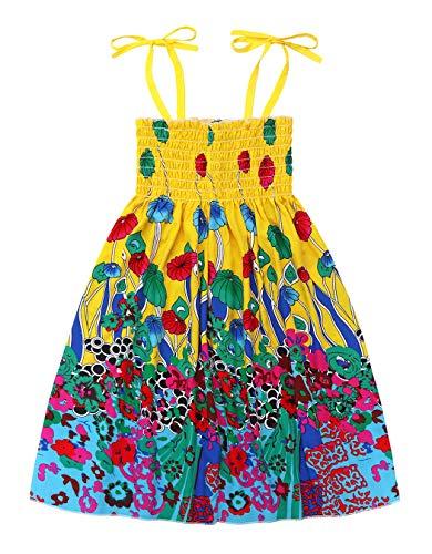Cotrio Vestido de verão infantil para meninas Crianças Boho Floral Strap Sem Mangas Tutu Roupas do Havaí 8-9 anos amarelo