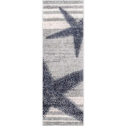 2' x 6' Grey Blue Starfish Runner Rug Rectangle Coastal Beach Themed Rug Runner Striped Floor Carpet For Living Room Kitchen Hallway Entryway Entrance Botanical Nautical Style, Polypropylene Synthetic