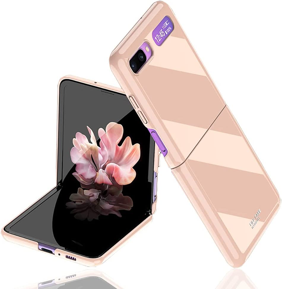 for Samsung Galaxy Z flip(5G Compatible) Case UV Bright Luxury Painted Full Protection Anti-Knock Cover Case (Rose Gold)【Not for Z Flip 3】