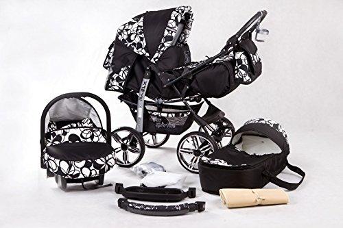 Kombi Kinderwagen Travel System Kamel 3in1 schwarz-blumen + Babyschale Autositz 0-10 kg Kinderwagen Buggy Stroller Poussette
