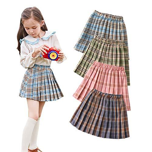 Kids Toddler Baby Girl High Waist Plaid Pleated Elastic Short Skirt A-Line Skater Tennis School Skirt 1-7T (Blue Plaid, 2-3T)