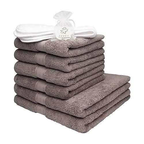 Towelz® Juego de lujosas Toallas de Hotel y SPA 2 XL y 4 L algodón Peinado 600g/m2 - Muy Suaves y absorbentes - con una Toalla de Cara Gratis y un jabón de Olor a bambú Gratis