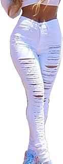 Guiran Women's Slim Fit Skinny Stretch Tight Ripped Jeans High Waist Denim Jeans Pants Leggings