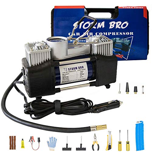 STORM BRO 12V DC Portable Air Compressor Pump Tire Inflator Dual Cylinders Backlight Display 12V Heavy Duty Air Pump with Tool Box for Car Tires, Balls, Other Inflatables