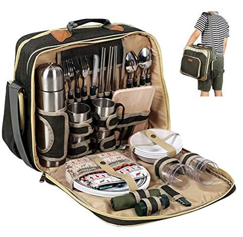 LHY Super Deluxe Picknickrucksack für 4 Personen, Große Picknickkühltasche mit Kühltasche Wasserdicht & Isoliert Picknick-Set inkl. Teller, Besteck, Weingläsern, Kühltaschen und Weinkühler