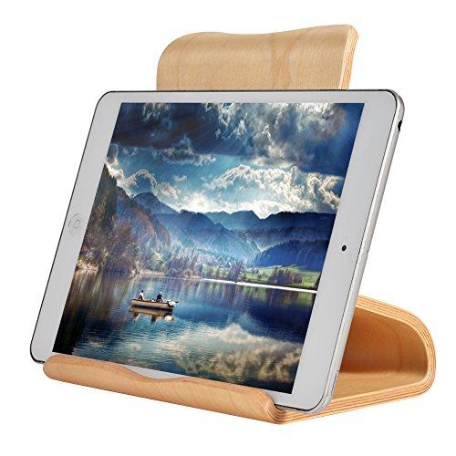 SAMDI Universal Holz Tablet für iPad Ständer/Halterung/Dock für iPad Pro 10.5/9.7, iPad Air 2 3 4, iPad Mini 1 2 3 4, Samsung Huawei E-Reader und Google Nexus 7 10 4 (Weiße Birke)