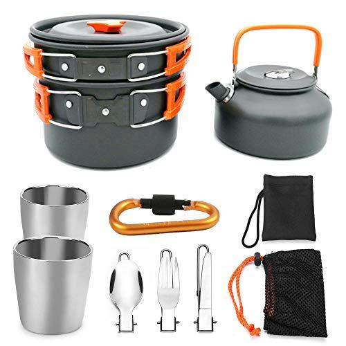 YSCYLY Ultralight Camping Cookware Set,9 PCS kookgerei met theepot, kop, karabijnhaak, niet-Stick Vouwen Camping Pans En Potten Reizen Wandelen Picnic Bbq