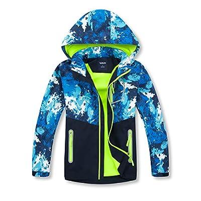 Boys Rain Jackets Lightweight Waterproof Hooded Raincoats Windbreakers for Kids Blue 7/8