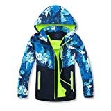 MGEOY Boys Rain Jackets Lightweight Waterproof Hooded Raincoats Windbreakers for Kids Blue 10/12