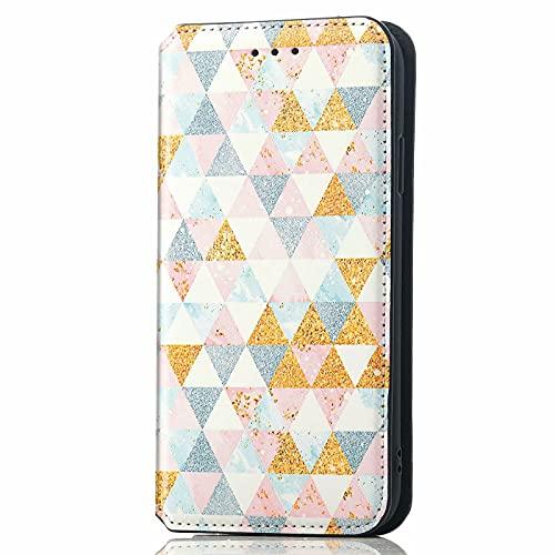 TYWZ RFID-Blockierung Karten Steckplätzen Brieftasche Case Cover für Samsung Galaxy Note 10 Plus,Hülle PU Leder Wallet Klapphülle Flip Standfunktion Schutzhülle-Rosa Rhombus