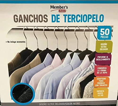 Ganchos para Ropa de Terciopelo, 50 Unidades, Caja, Color Negro, Perchas de Ropa, Calidad Premium