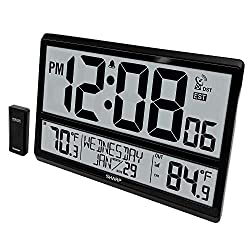 Sharp Atomic Clock - Never Needs Setting! –Easy to Read Numbers - Indoor/ Outdoor Temperature, Wireless Outdoor Sensor - Battery Powered - Easy Set-Up!! (4 Numbers)