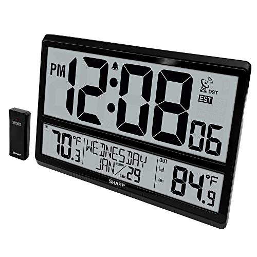 """Sharp Atomic Clock - Never Needs Setting! –Easy to Read Numbers - Indoor/ Outdoor Temperature, Wireless Outdoor Sensor - Battery Powered - Easy Set-Up!! (4"""" Numbers)"""