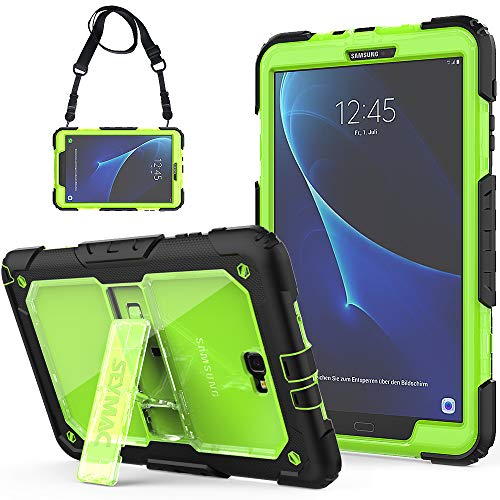 SEYMCY Galaxy Tab A 10.1 Case 2016(SM-T580/SM-T585/SM-T587,No S Pen) Kids Full Body Rugged Shockproof Drop Protection Defender Case with Kickstand/Strap for Galaxy Tab A6 10.1 2016 Tablet[Black/Green]