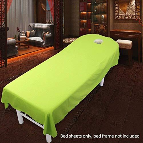 HOMYY Massage Bettlaken Abdeckung, Massage Tisch Blatt Salon Bettlaken Spa mit Loch Tisch Tuch Bettlaken Abdeckung Schönheit Kosmetik Massage Enganliegend Blatt - Grün, 80cmx190cm