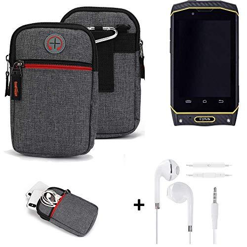 K-S-Trade® Gürtel-Tasche + Kopfhörer Für Cyrus CS 19 Handy-Tasche Holster Schutz-hülle Grau Zusatzfächer 1x