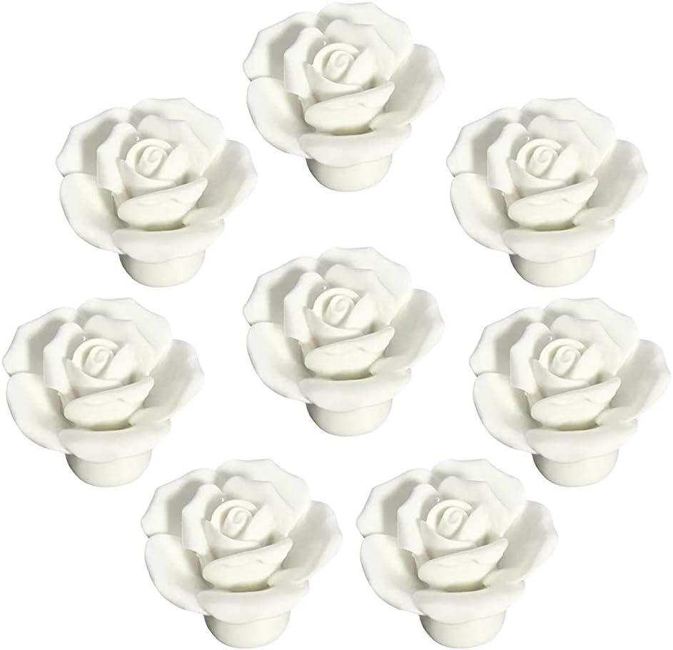 3.75\u201d 5 White ceramic drawer handle pull antique silver black cabinet door knob rose flower dresser handle porcelain wardrobe pull 96 128mm