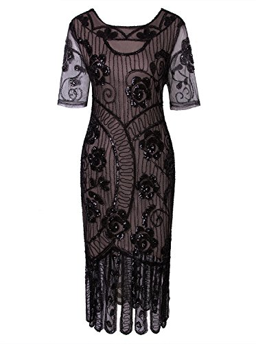 VIJIV Women Vintage Style 1920s Dresses Inspired Beaded Cocktail Flapper Dress for Wedding Gatsby Party with Sleeves Black Beige