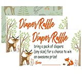 Woodland Creature Diaper Raffle Tickets for Girl or Boy Baby Shower Invitations,50 Baby Shower Game, Bring a Pack of Diapers to Win Favors,