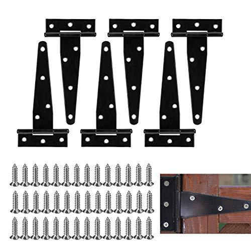 6 Pieza Bisagras en T Bisagra Negro, Triángulo Bisagras Puertas Madera Grandes, Bisagras en T Robustas para Puertas Metálicas, 6 Pulgadas Triángulo Bisagra para Puertas de Cobertizos