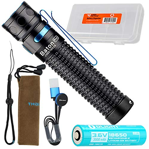 Olight Baton Pro 2000 Lumen Rechargeable EDC LED Flashlight with LumenTac Battery Organizer