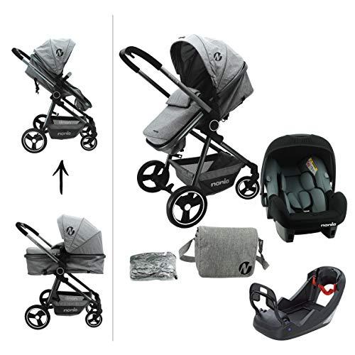 Kombination Kinderwagen 3 in 1 - GIULIA - Autositz BEONE (Griff 0+) empfohlen 4 Sterne ADAC + Wagenkasten - Wickeltasche + Regenschutz - Nania (dunkelgrau)