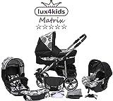 Chilly Kids Matrix 2cochecito Set–Verano (sombrilla, asiento auto & Adaptadores, la lluvia, mosquitera, ruedas pivotantes) multicolor 38 noir & les années 70