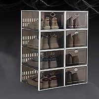 積み重ね可能な靴の収納ボックス,折りたたみ 式 ポータブル クリアプラスチック靴オーガナイザー8パック,組み立てる必要がある 靴棚 ベッドルーム用,クローゼット-B 33.7x23.3x15.3cm(13x9x6inch)