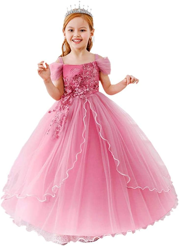Dressy Daisy Girls Special Occasion Dresses Prom Gown Wedding Flower Girl Pageant Dress Sequined Applique