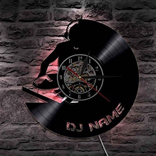 Lyy Dj Anpassen Name Kreativ Vinyl Mauer Uhr Led Licht Personalisiert Laser Geätzt Handarbeit Kunst Led Glühend Mauer Licht Uhr,34X34cm