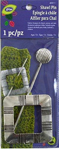 Dritz Loran Sjaal Stick Pin Vierkant Zilver Afwerking, Acryl, Multi kleuren, 2.9 x 7.65 x 0.1 cm