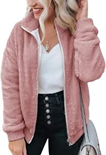 MAKARTHY Fleece Jackets for Women Full Zip Up Winter Sherpa Jacket Outwear Coat
