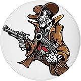 W-WEE Alfombra Redonda Alfombra, cráneo, Esqueleto Muerto Vaquero disparando con una Pistola Grande Ilustración del Mal Viejo pandilla del Oeste, marrón Blanco Greyo