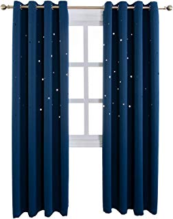 MANGATA CASA Romantic Starry Sky Curtains Space Inspired Night Sky Twinkle Hollow Star Draperies Creative Blackout Window Drapes for Bedroom (Navy,2Panels, 52x84inch)
