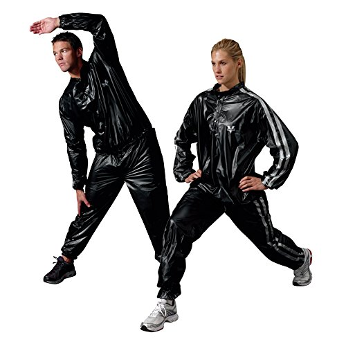 Valeo Vinyl Sauna Suit 2 Pieces with Elasticized Wrist/Ankle Cuffs BP6 Free Black VA1350 Large/XLarge