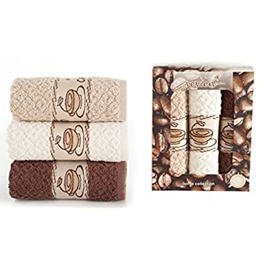 ixirhome Coffee Design Kitchen Towels Gift Set ||%100 Turkish Cotton || Nicely Packed by (Coffee-Cream-Beige)