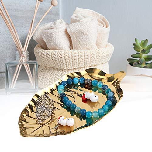 Bandeja de almacenamiento, bandeja de joyería con adornos dorados con apariencia de hoja para baratijas para salón de baile familiar