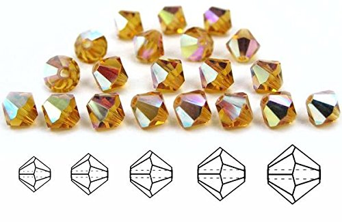 6mm Topaz AB Coated, Czech MC Bicone Beads (Rondell, Diamond Shape Crystals), 2 Gross = 288 Pieces